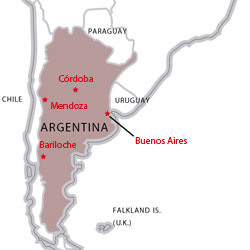 Map of destinations for Spanish courses in Argentina