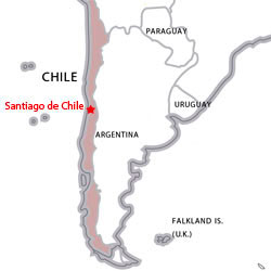 Map of destinations for Spanish courses in Chile