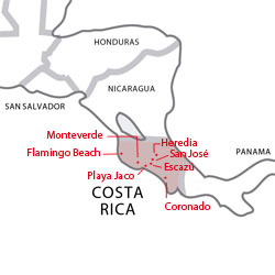 Map of destinations for Spanish courses in Costa Rica
