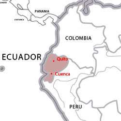 Map of destinations for Spanish courses in Ecuador