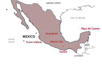 Map of destinations for Spanish courses in Mexico