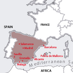 Map of destinations for Spanish courses in Spain